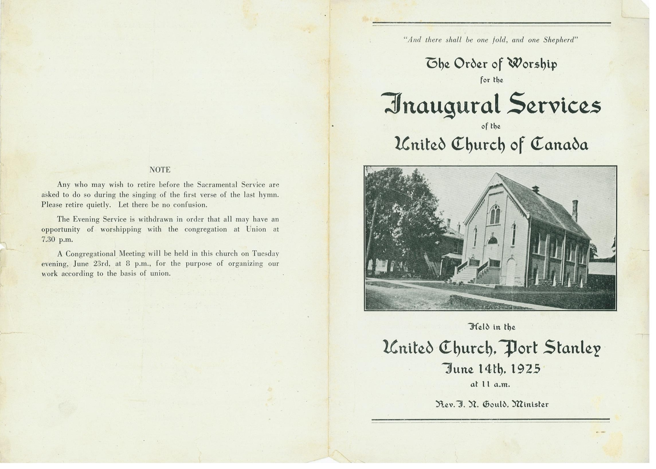 Inaugural Services June 14th, 1925 Pg. 1